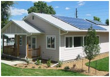 home with photovoltaic solar power system